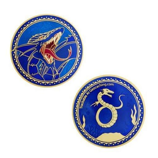 Sea Serpent Geocoin- Satin Gold- XLE