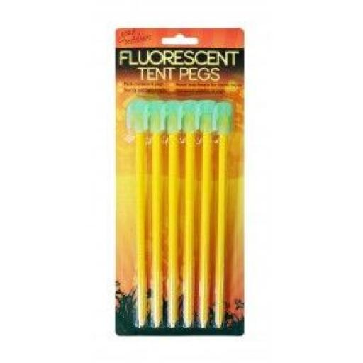 Fluorescent Tent Pegs 6 Pack